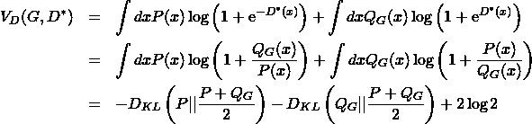 \begin{eqnarray*} V_D(G,D^*) &=& \int dx P(x)\log{\left(1+{\rm e}^{-D^*(x)}}\right)} +\int dx Q_G(x)\log{\left(1+{\rm e}^{D^*(x)}}\right)} \\ &=& \int dx P(x)\log{\left(1+\frac{Q_G(x)}{P(x)}\right)} +\int dx Q_G(x)\log{\left(1+\frac{P(x)}{Q_G(x)}\right)} \\ &=& -D_{KL}\left(P  \frac{P+Q_G}{2}\right) -D_{KL}\left(Q_G  \frac{P+Q_G}{2}\right) +2\log{2} \end{eqnarray*}